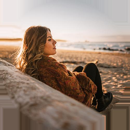 Girl on beach in the sun